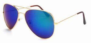 Aviator zonnebril spiegelglas groene blauwe