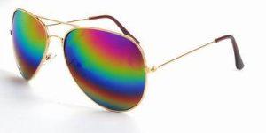 Aviator zonnebril dames heren spiegelglazen regenboog