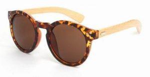 Ronde houten zonnebril schildpad print
