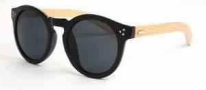 Ronde houten zonnebril zwarte glazen