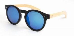 Ronde houten zonnebril spiegelglazen blauwe