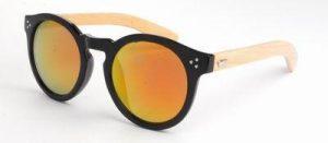 Ronde houten zonnebril spiegelglas gouden rode