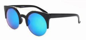 Ronde zonnebril spiegelglazen groene blauwe