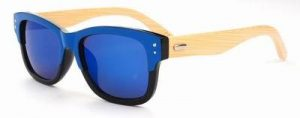 Bamboe zonnebril Wayfarer spiegelglas blauwe