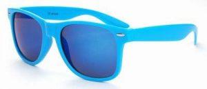 Licht blauwe Wayfarer zonnebril spiegelglas blauwe