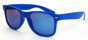Donker blauwe Wayfarer zonnebril spiegelglas blauwe