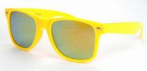 Gele Wayfarer zonnebril spiegelglas gouden