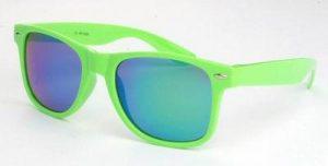 Groene Wayfarer zonnebril spiegelglas groene blauwe