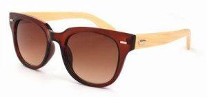 Houten zonnebril Wayfarer bruine glazen