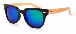 Houten zonnebril Wayfarer spiegelglazen groene blauwe
