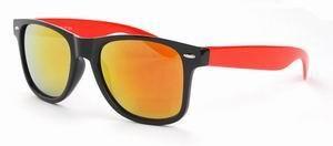 Wayfarer zonnebril dames spiegelglas gouden rode